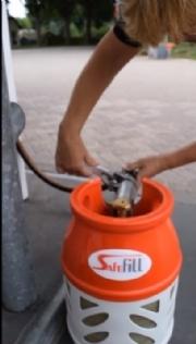 Safefill refillable LPG gas bottle